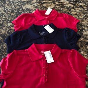 Bundle NWT Girls Uniform Ruffle Polos M 7/8